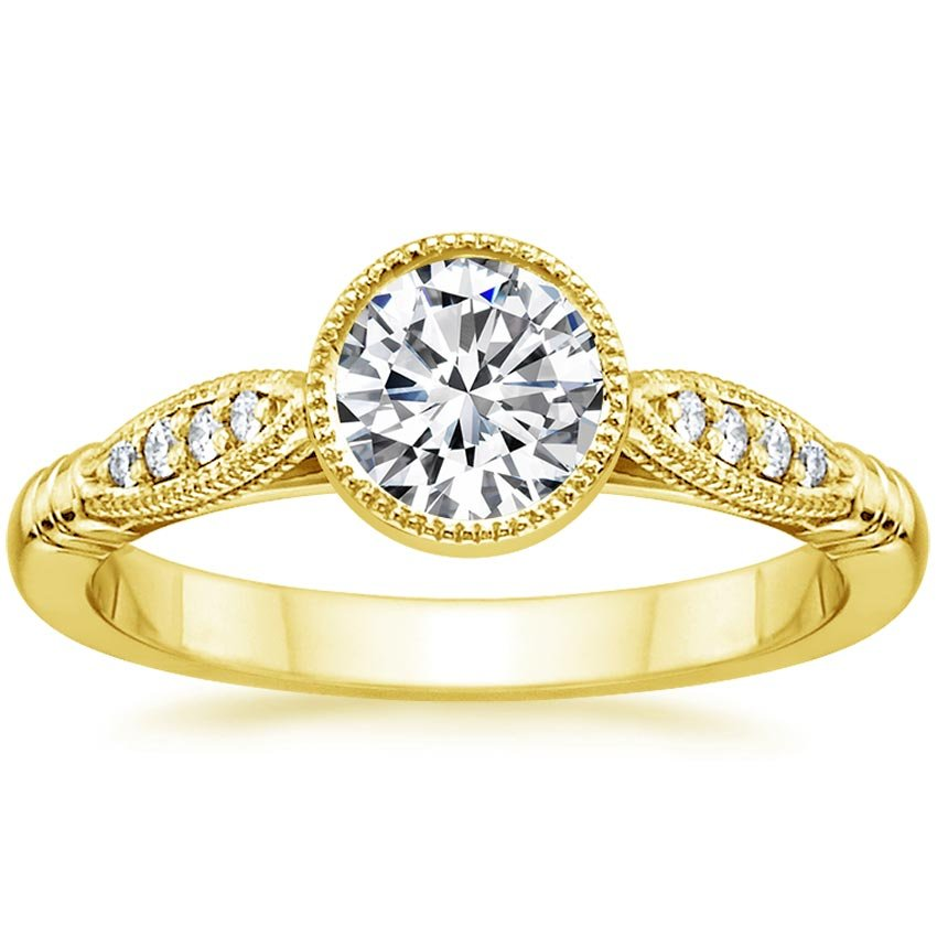 18K Yellow Gold Lyra Diamond Ring, top view