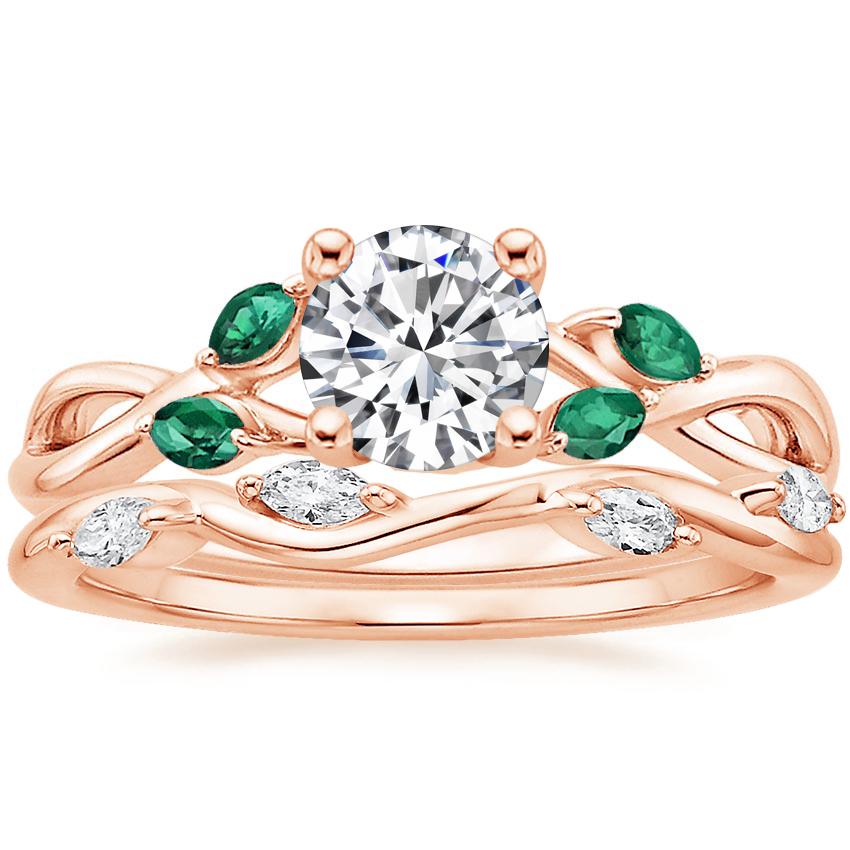14K Rose Gold Willow Ring With Lab Emerald Accents with Winding Willow Diamond Ring (1/8 ct. tw.)
