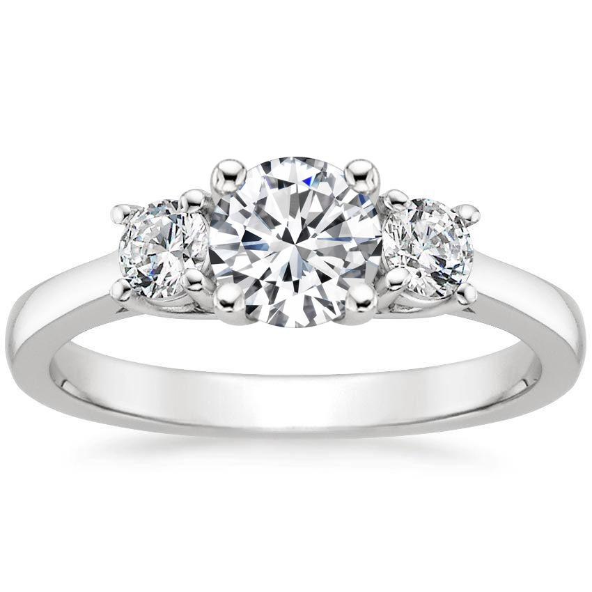 Platinum Petite Three Stone Trellis Diamond Ring (1/3 ct. tw.), top view