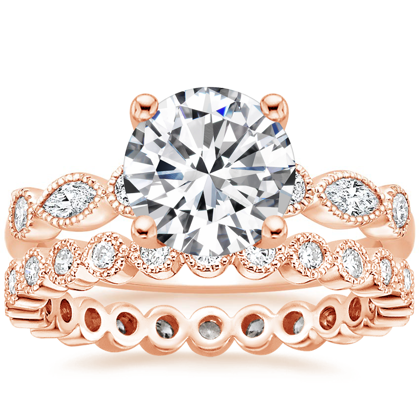 14K Rose Gold Rosalie Diamond Ring (1/4 ct. tw.) with Solstice Eternity Diamond Ring (1/3 ct. tw.)