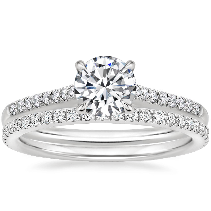 Platinum Lissome Diamond Ring (1/10 ct. tw.) with Luxe Ballad Diamond Ring (1/4 ct. tw.)