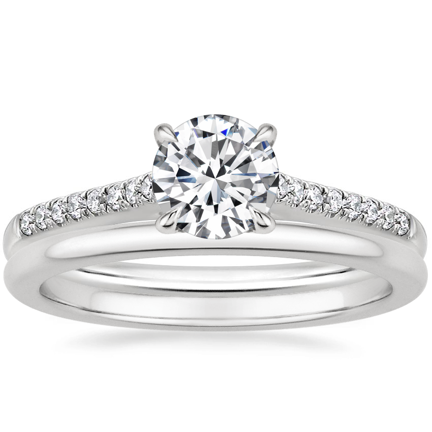 Platinum Lissome Diamond Ring (1/10 ct. tw.) with Petite Comfort Fit Wedding Ring
