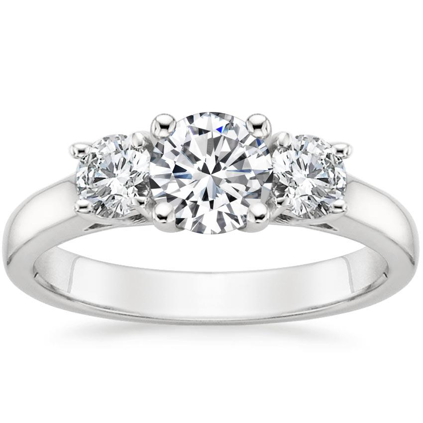 Round 18K White Gold Three Stone Trellis Diamond Ring