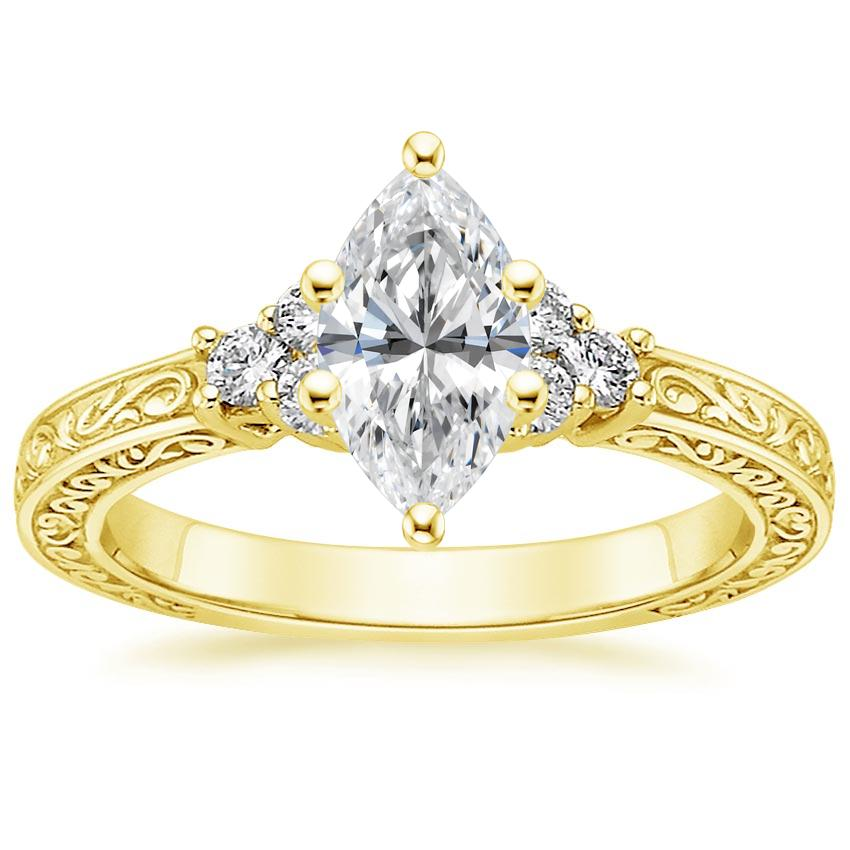Marquise 18K Yellow Gold Adorned Trio Diamond Ring