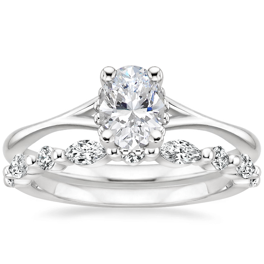 18K White Gold Cava Ring with Versailles Diamond Ring (3/8 ct. tw.)
