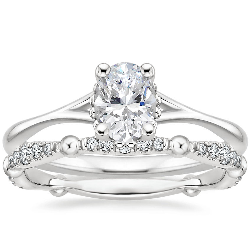 18K White Gold Cava Ring with Dolce Diamond Ring
