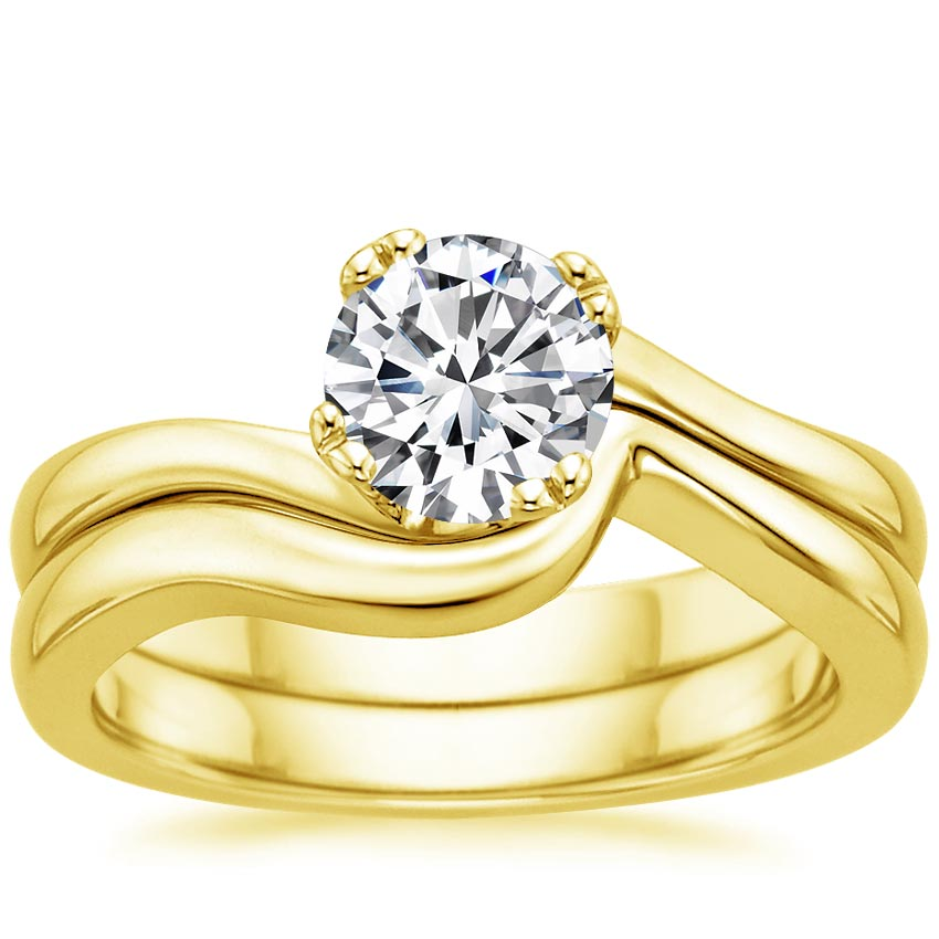 18K Yellow Gold Seacrest Bridal Set, top view