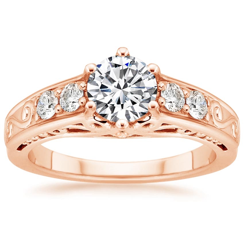 14K Rose Gold Art Deco Filigree Diamond Ring (1/4 ct. tw.), top view