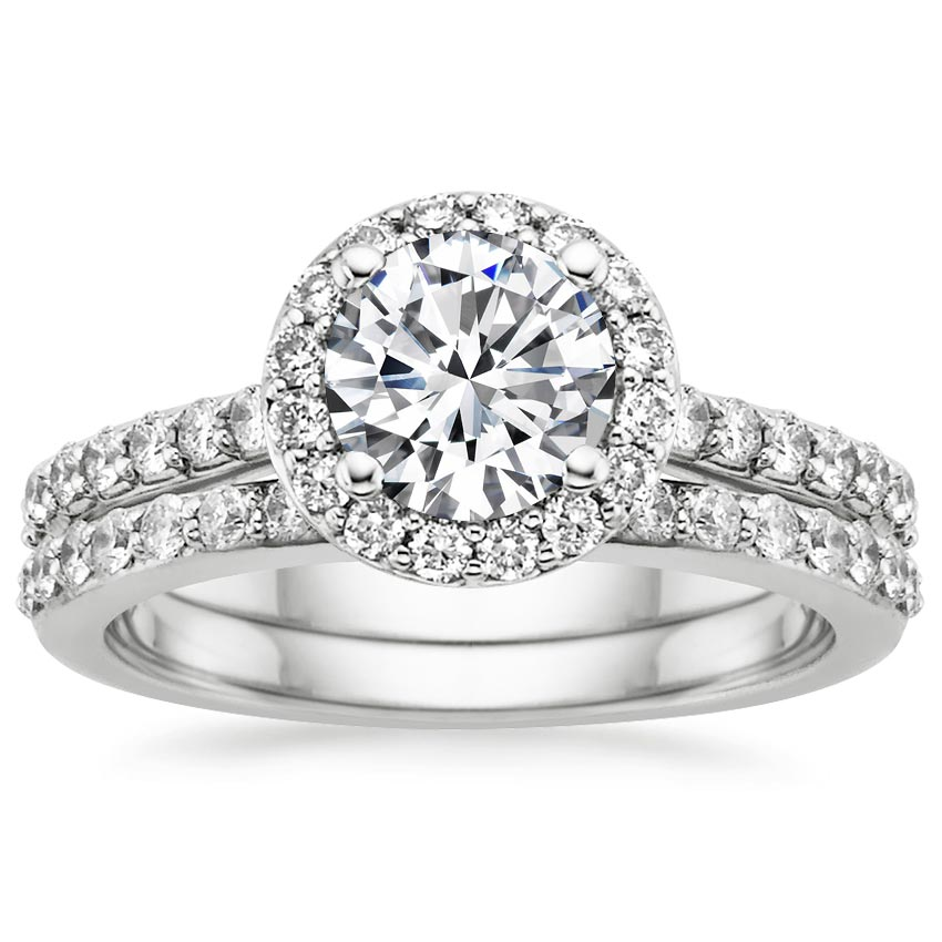 18K White Gold Halo Diamond Ring with Side Stones with Petite Shared Prong Diamond Ring, top view