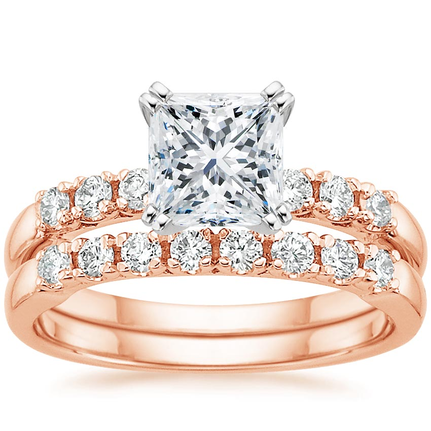 14K Rose Gold Posie Diamond Matched Set (1/3 ct. tw.), top view