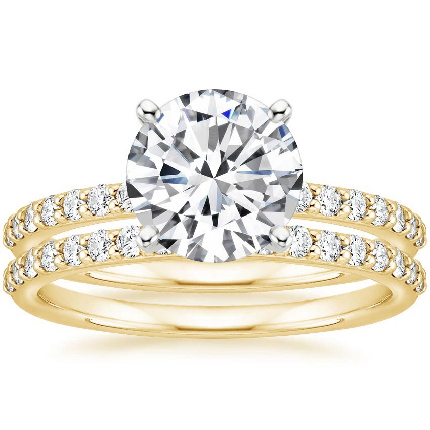 18K Yellow Gold Petite Shared Prong Bridal Set (1/2 ct. tw.)