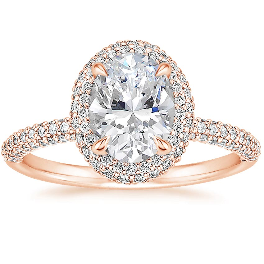 Oval 14K Rose Gold Valencia Halo Diamond Ring (1/2 ct. tw.)
