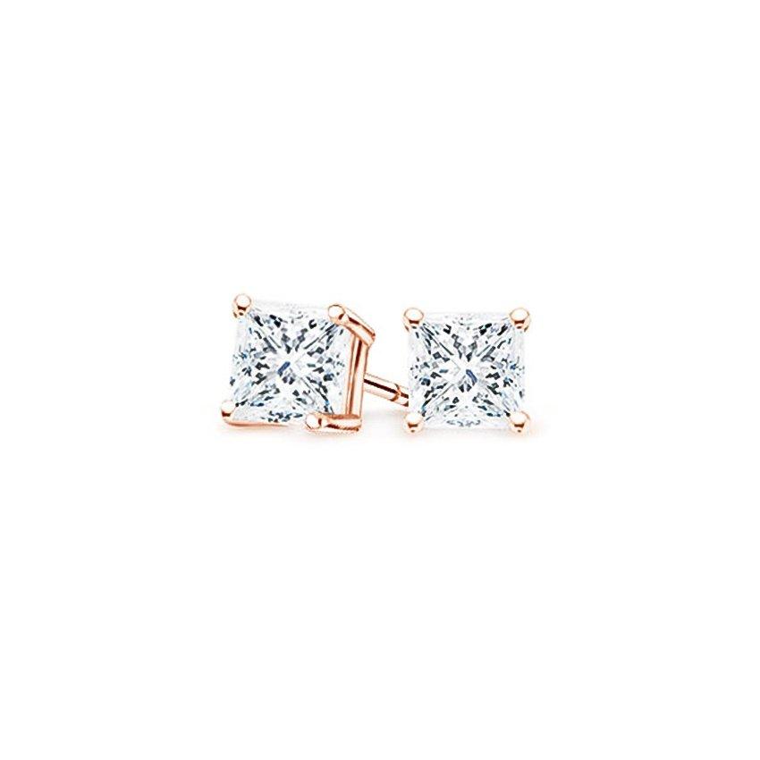 777549836 14K Rose Gold Four-prong Princess Diamond Stud Earrings, top view
