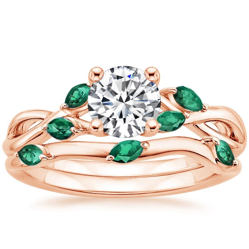 14K Rose Gold Willow Bridal Set With Lab Emerald Accents