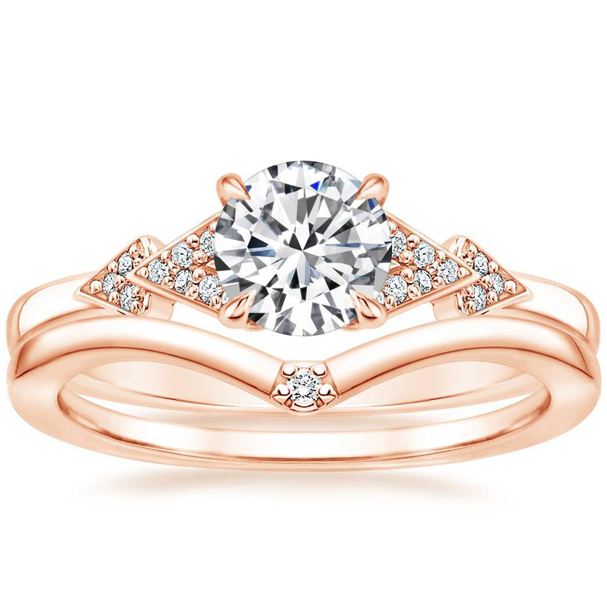 14K Rose Gold Alta Diamond Ring with Arc Diamond Ring