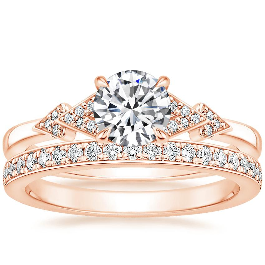 14K Rose Gold Alta Diamond Ring with Geneva Diamond Ring