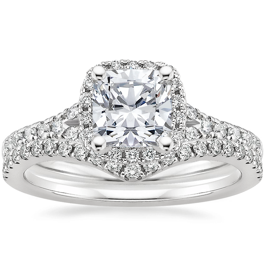 18K White Gold Joy Diamond Ring (1/3 ct. tw.) with Flair Diamond Ring (1/6 ct. tw.)