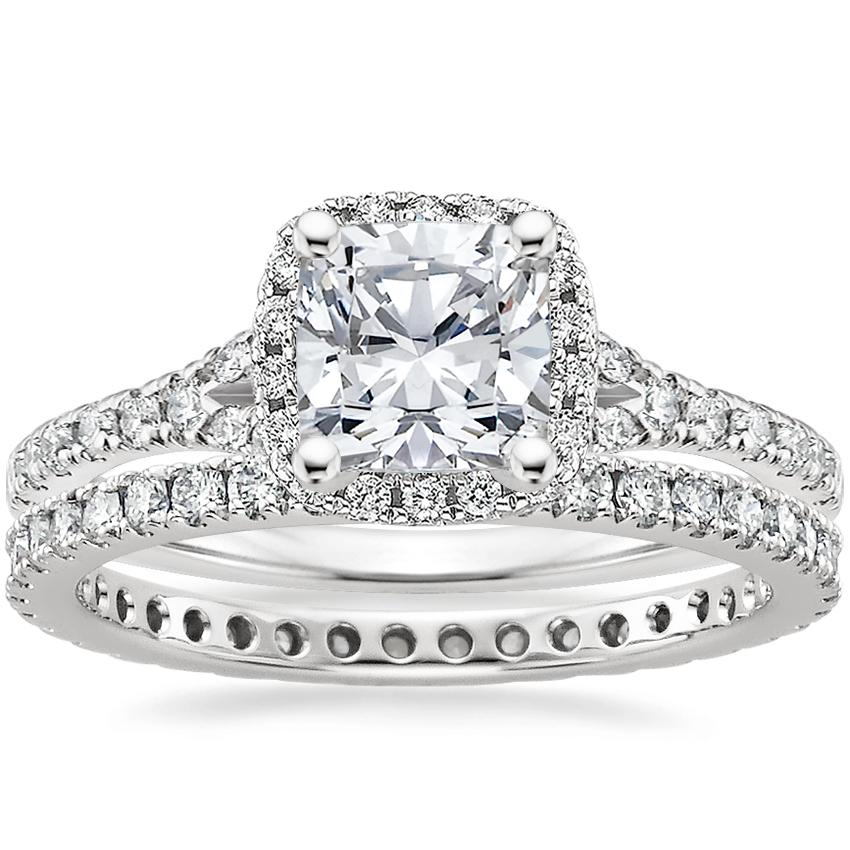 18K White Gold Harmony Diamond Ring with Bliss Eternity Diamond Ring (1/2 ct. tw.), top view