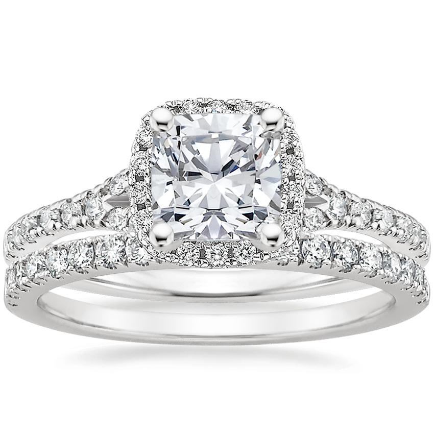 Platinum Harmony Diamond Ring with Bliss Diamond Ring (1/4 ct. tw.), top view