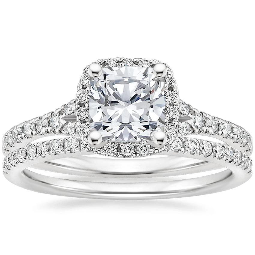 18K White Gold Joy Diamond Ring (1/3 ct. tw.) with Ballad Diamond Ring (1/6 ct. tw.)