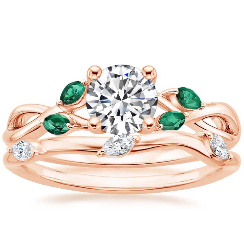 14K Rose Gold Willow Ring With Lab Emerald Accents with Willow Diamond Ring (1/10 ct. tw.)