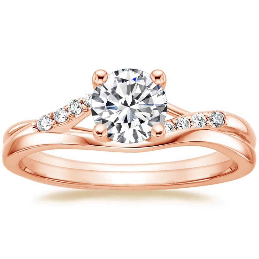 14K Rose Gold Chamise Diamond Ring with Grace Contoured Ring