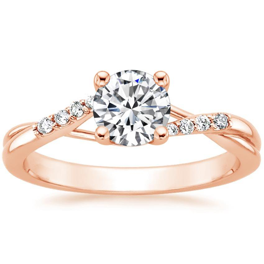 Round 14K Rose Gold Chamise Diamond Ring