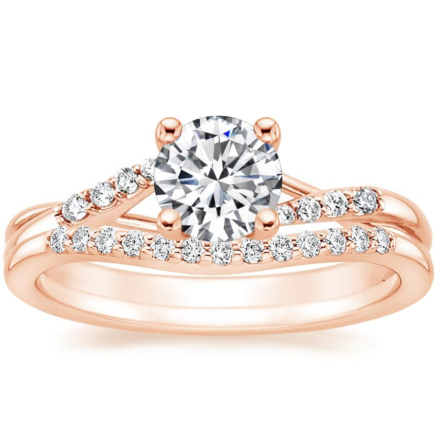 14K Rose Gold Chamise Diamond Ring (1/15 ct. tw.) with Petite Curved Diamond Ring (1/10 ct. tw.)