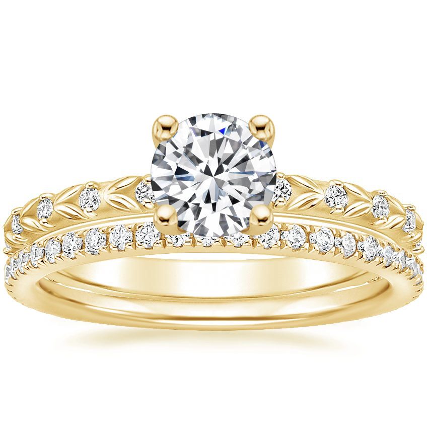 18K Yellow Gold Hollie Diamond Ring with Luxe Ballad Diamond Ring (1/4 ct. tw.)
