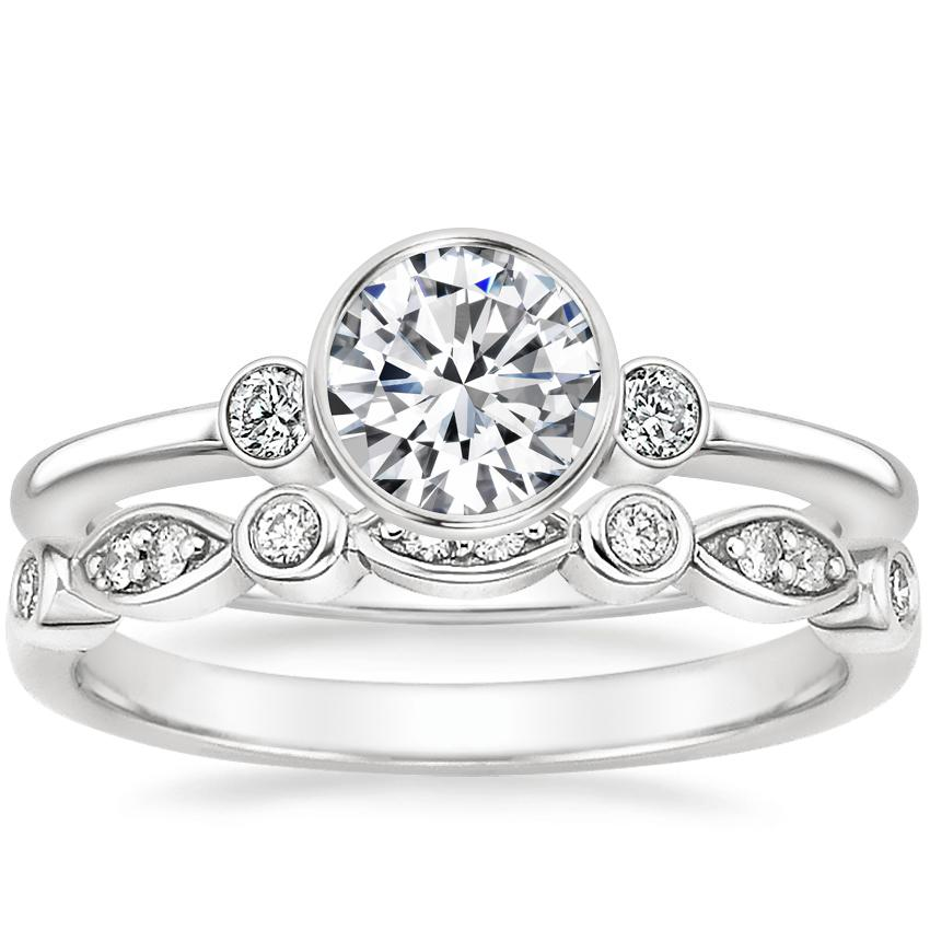 18K White Gold Mila Diamond Ring with Coronet Diamond Ring