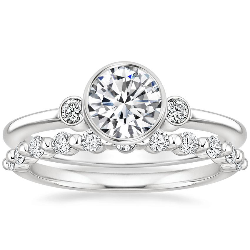 18K White Gold Mila Diamond Ring with Marseille Diamond Ring (1/3 ct. tw.)