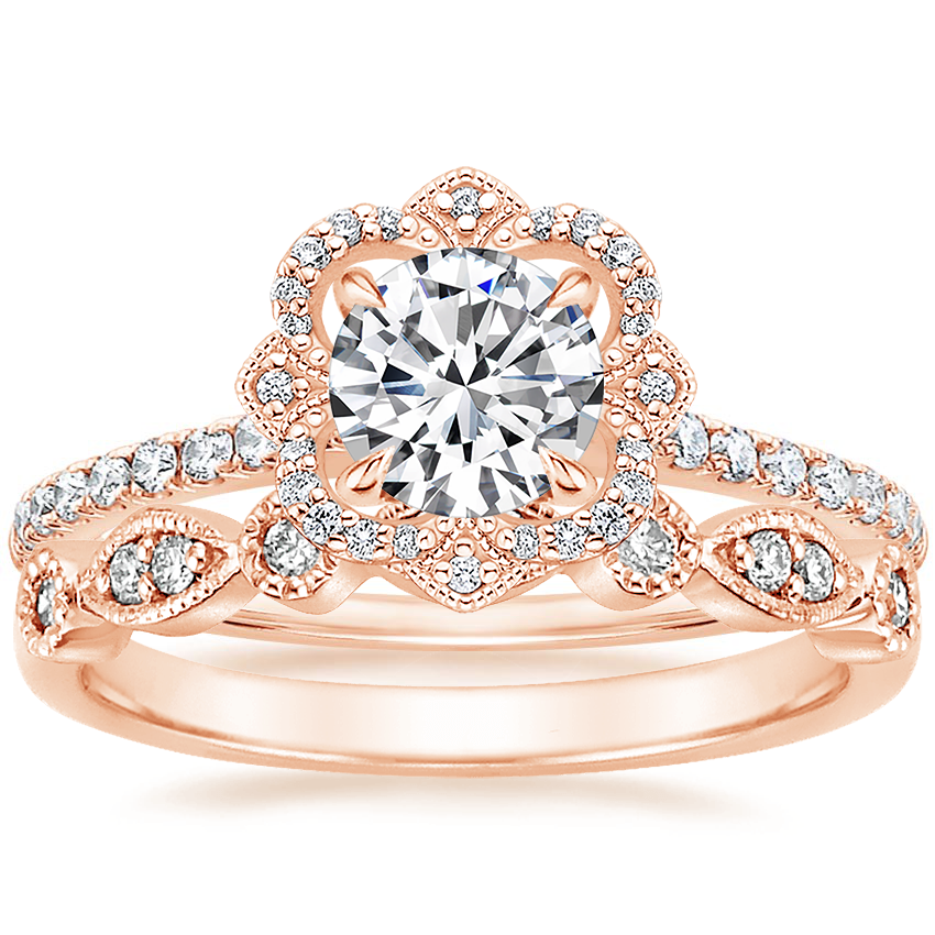 14K Rose Gold Reina Diamond Ring with Tiara Diamond Ring (1/10 ct. tw.)