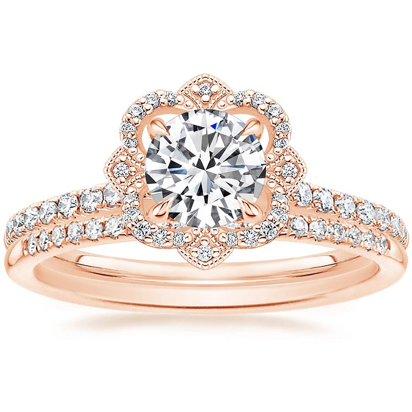 14K Rose Gold Reina Diamond Ring (1/4 ct. tw.) with Whisper Diamond Ring (1/10 ct. tw.)