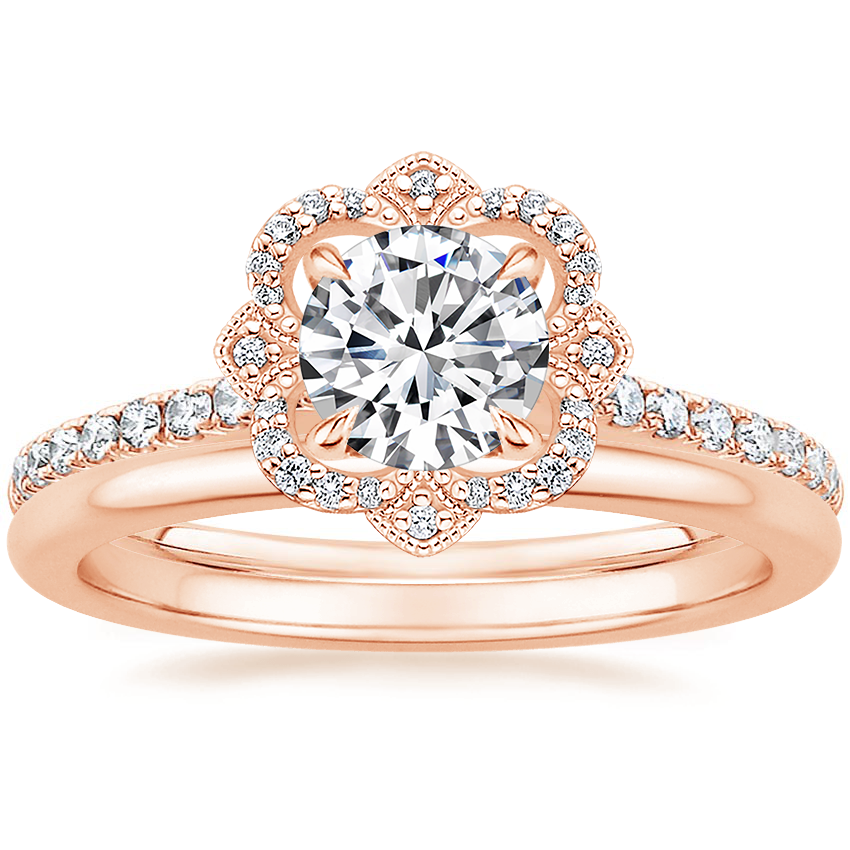 14K Rose Gold Reina Diamond Ring with Petite Comfort Fit Wedding Ring
