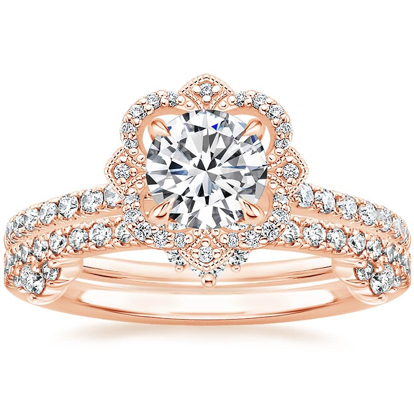 14K Rose Gold Reina Diamond Ring with Cosette Diamond Ring (1/4 ct. tw.)