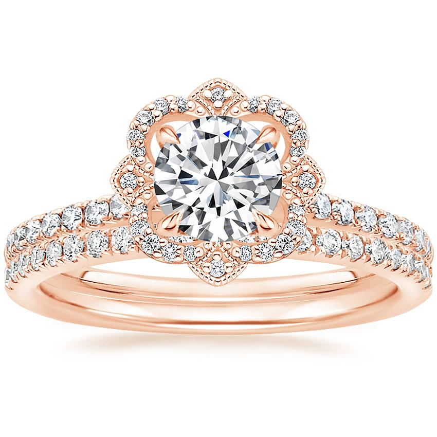 14K Rose Gold Reina Diamond Ring (1/4 ct. tw.) with Ballad Diamond Ring (1/6 ct. tw.)