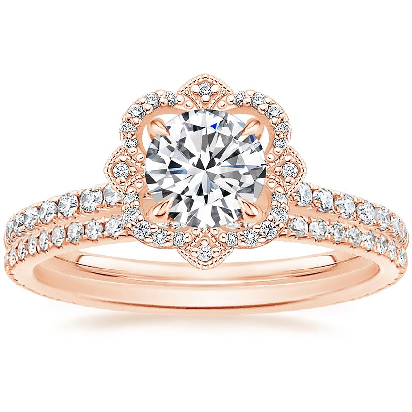 14K Rose Gold Reina Diamond Ring (1/4 ct. tw.) with Whisper Eternity Diamond Ring (1/4 ct. tw.)