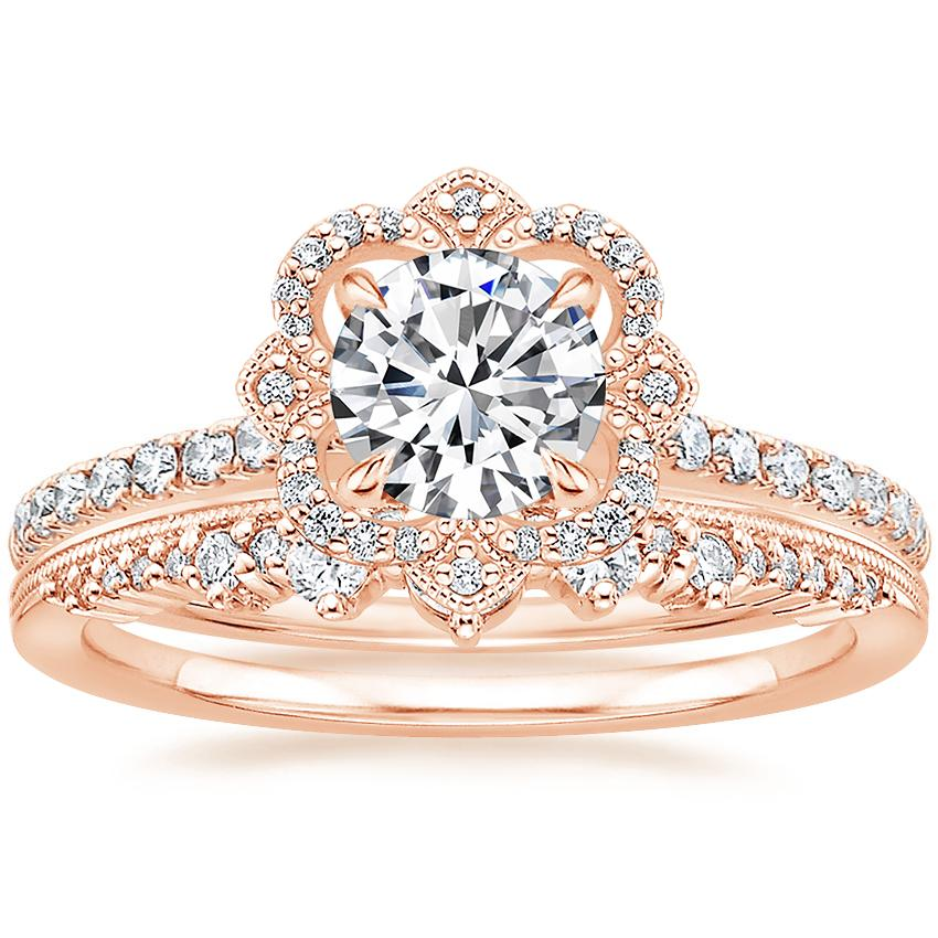 14K Rose Gold Reina Diamond Ring (1/4 ct. tw.) with Crown Diamond Ring