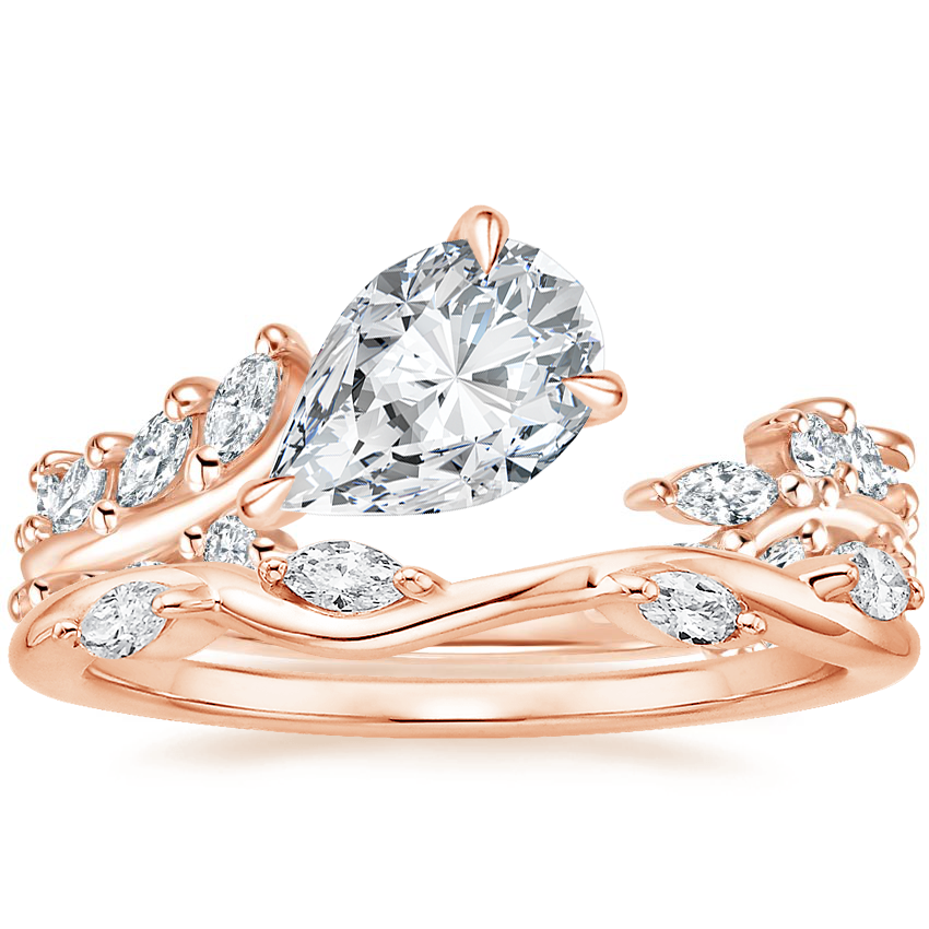 14K Rose Gold Sweeping Ivy Diamond Ring (1/2 ct. tw.) with Winding Willow Diamond Ring