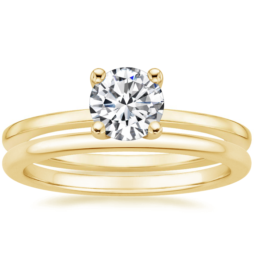 18K Yellow Gold Haven Diamond Ring with Petite Comfort Fit Wedding Ring