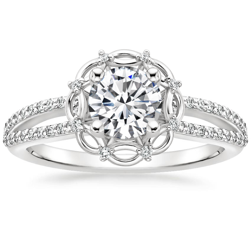 Round Ribbon Halo Engagement Ring