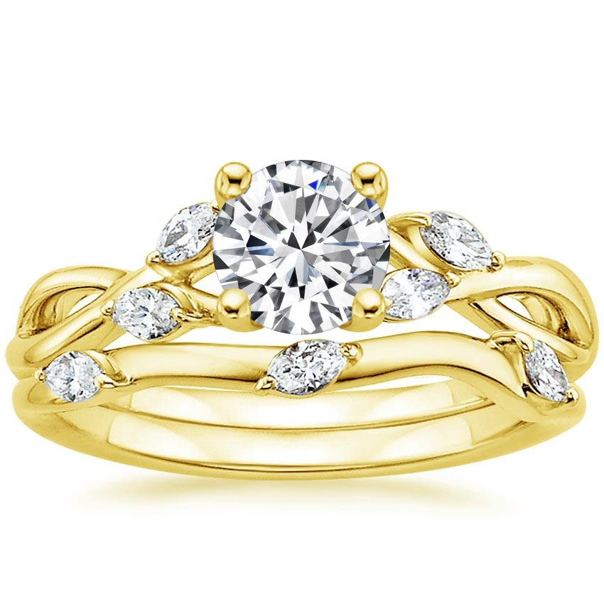 18K Yellow Gold Willow Bridal Set (1/4 ct. tw.), top view