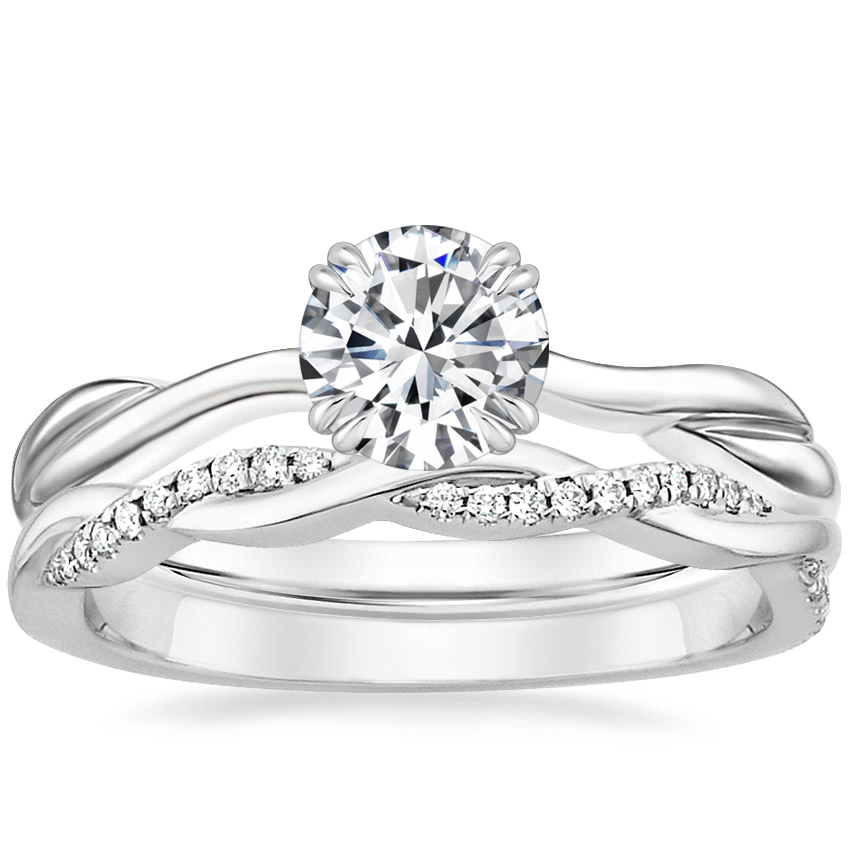 Platinum Alouette Ring with Petite Twisted Vine Diamond Ring (1/8 ct. tw.)