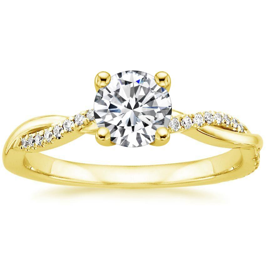 18K Yellow Gold Petite Twisted Vine Diamond Ring, top view