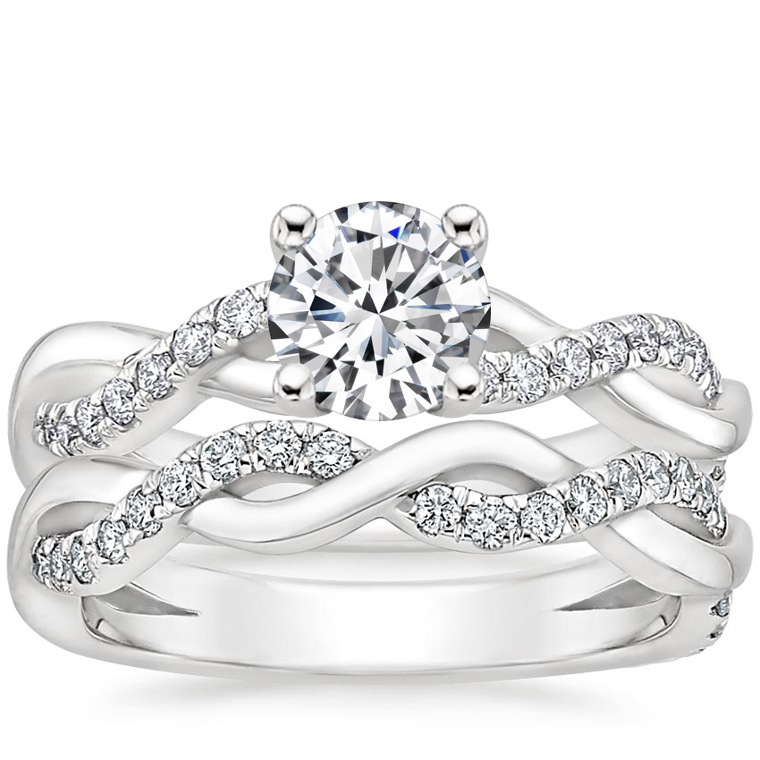 18K White Gold Braided Vine Diamond Bridal Set (1/2 ct. tw.)