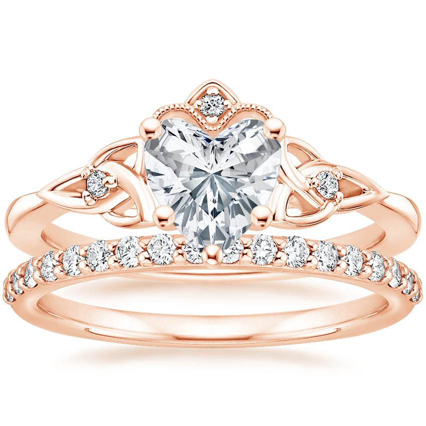 14K Rose Gold Celtic Crown Diamond Ring with Petite Shared Prong Diamond Ring (1/4 ct. tw.)