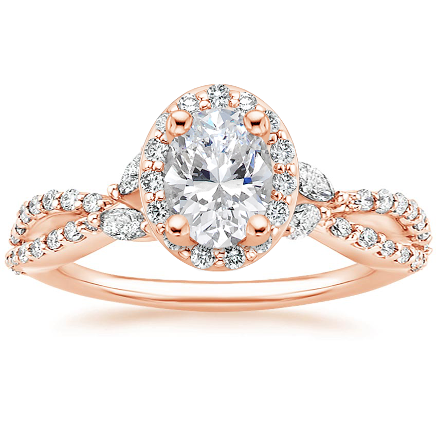 Oval 14K Rose Gold Luxe Willow Halo Diamond Ring (2/5 ct. tw.)