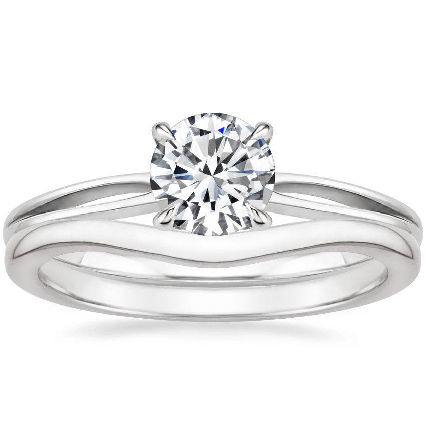18K White Gold Kalina Ring with Petite Curved Wedding Ring