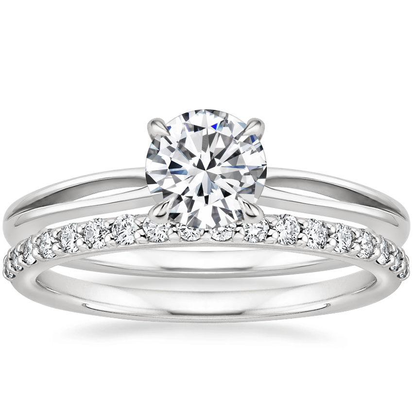 18K White Gold Kalina Ring with Petite Shared Prong Diamond Ring (1/4 ct. tw.)