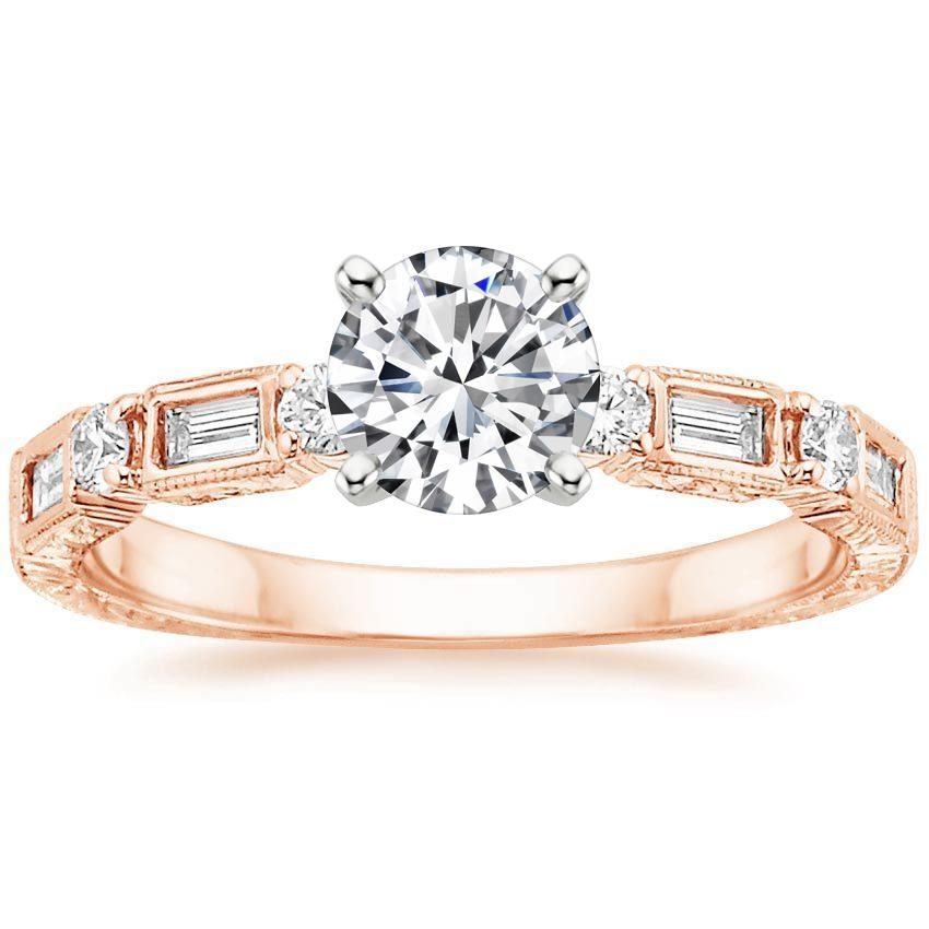 14K Rose Gold Vintage Diamond Baguette Ring (1/4 ct. tw.), top view